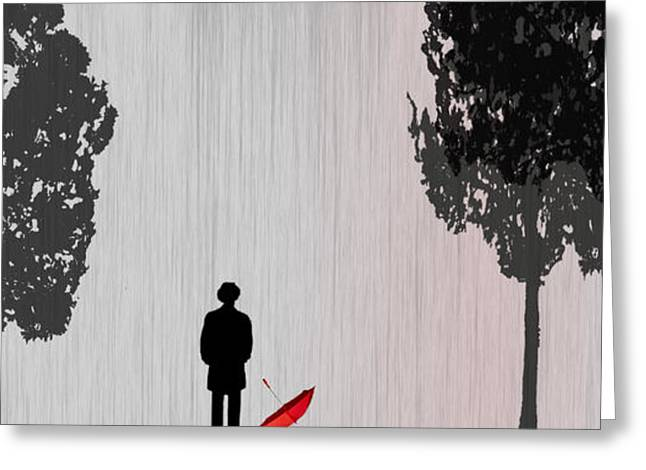 Umbrella Greeting Cards - Man in Rain Greeting Card by Jim Kuhlmann