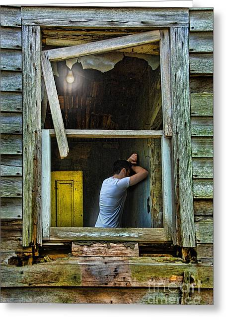 Bankrupt Greeting Cards - Man in Ruined House Greeting Card by Jill Battaglia