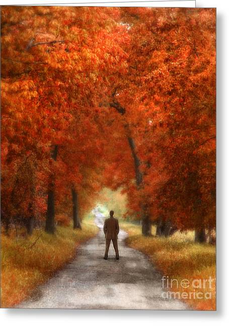Middle Of Nowhere Greeting Cards - Man in Suit on Rural Road in Autumn Greeting Card by Jill Battaglia