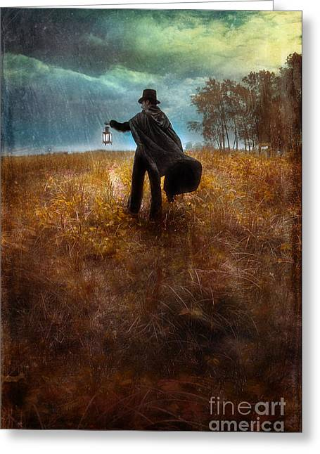 Edwardian Greeting Cards - Man in Top Hat and Cape Walking in Rain Greeting Card by Jill Battaglia