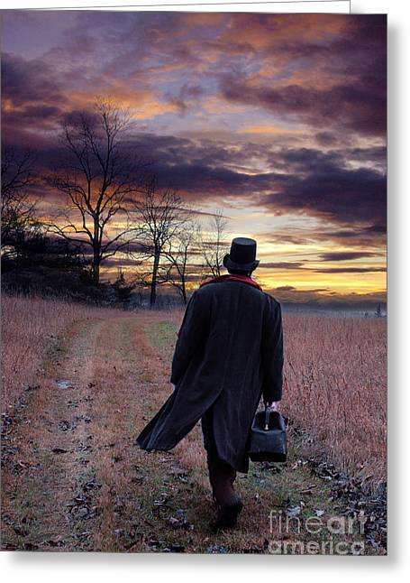 Period Clothing Greeting Cards - Man in Top Hat with Bag Walking Greeting Card by Jill Battaglia
