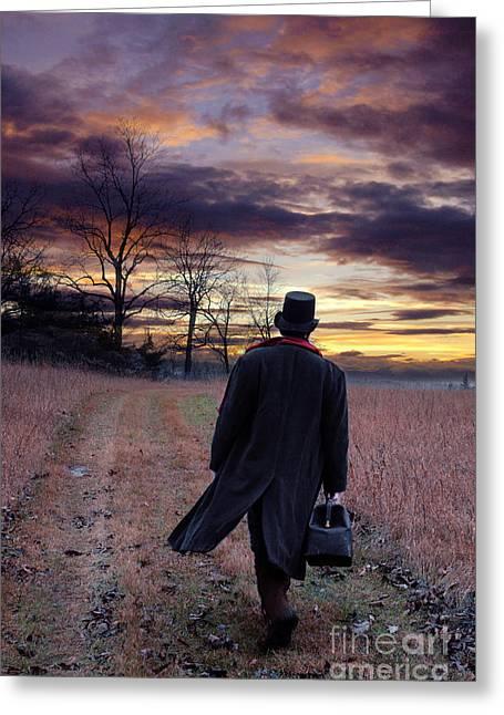 Man In Top Hat With Bag Walking Greeting Card by Jill Battaglia