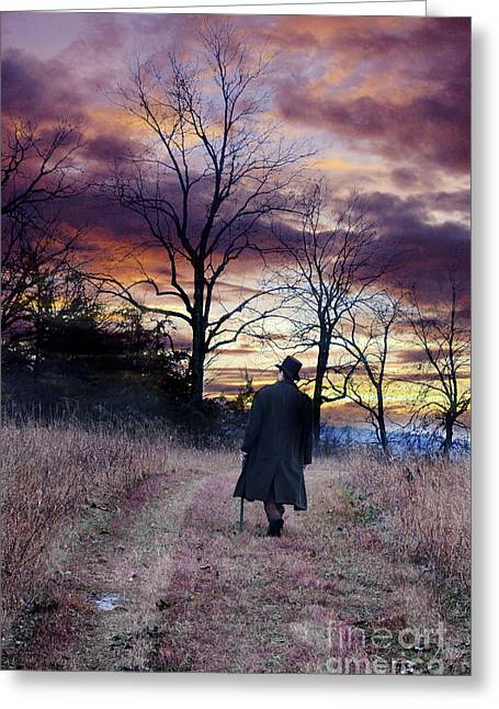 Man In Top Hat With Cane Walking Greeting Card by Jill Battaglia