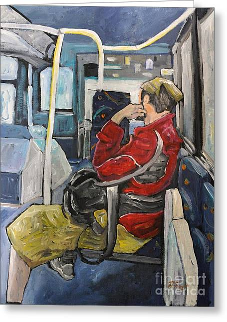 Bus Ride Greeting Cards - Man on 107 Bus Verdun Greeting Card by Reb Frost