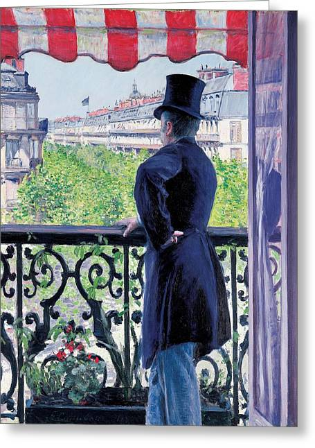 Flowers On Hat Greeting Cards - Man on a balcony on Boulevard Haussmann Greeting Card by Gustave Caillebotte