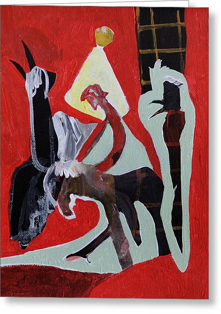 Expressionist Greeting Cards - Man on a Donkey in Front of Tower Greeting Card by Anon Artist
