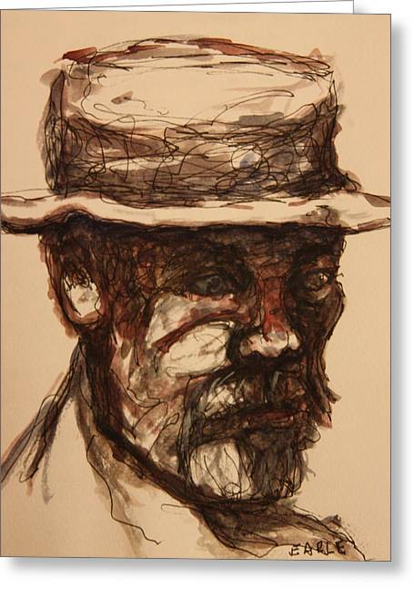 Sketchbook Greeting Cards - Man on a Park Bench Greeting Card by Dan Earle