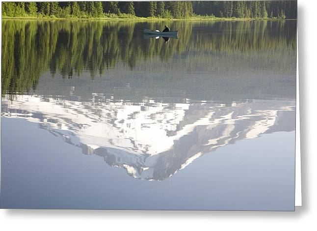 Tuttle Greeting Cards - Man On Boat, Mt. Hood Reflects In Greeting Card by Craig Tuttle