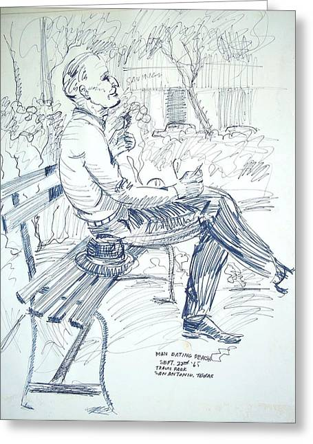 Park Benches Drawings Greeting Cards - Man on Park Bench Greeting Card by Bill Joseph  Markowski