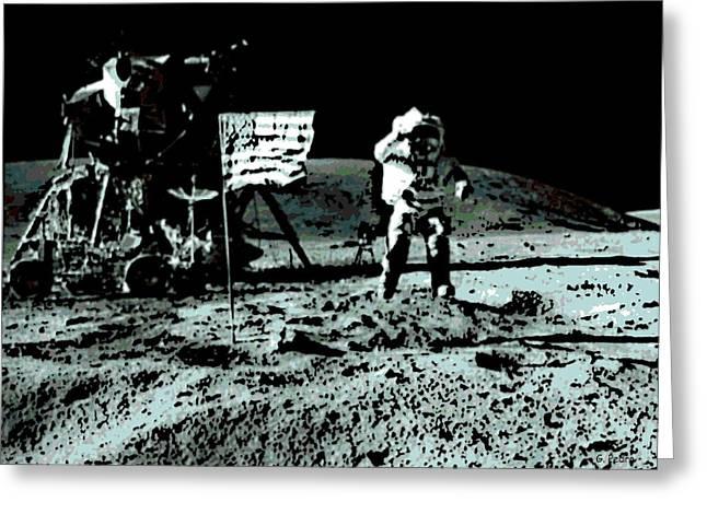 Moonwalk Digital Greeting Cards - Man On the Moon Greeting Card by George Pedro