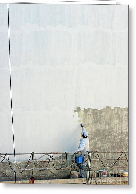 Painter At Work Greeting Cards - Man painting the facade of a building Greeting Card by Sami Sarkis