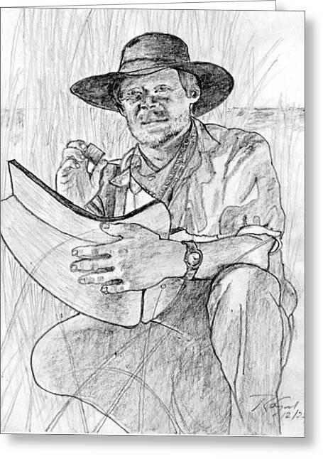 Eyelash Drawings Greeting Cards - Man Pencil Portrait Greeting Card by Romy Galicia