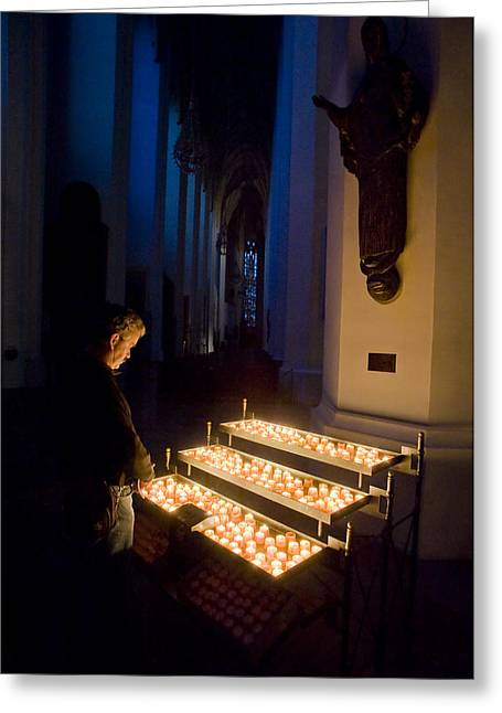 Frauenkirche Greeting Cards - Man Prays By Candles At Frauenkirche Greeting Card by Greg Dale