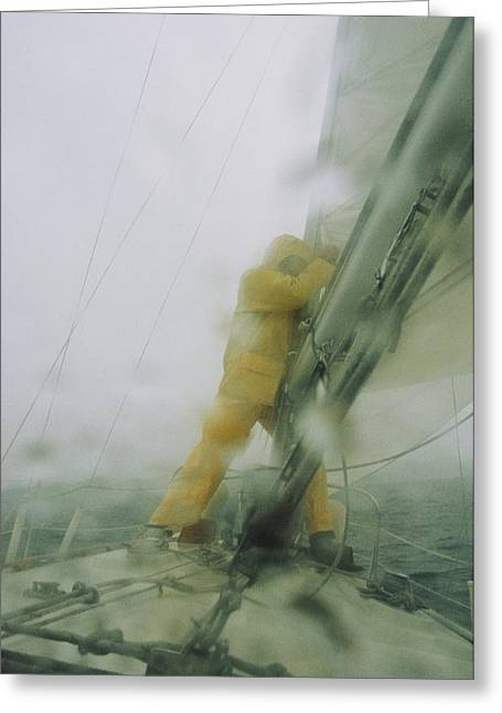 Seaman Greeting Cards - Man Reefing Mainsail In Heavy Weather Greeting Card by Skip Brown