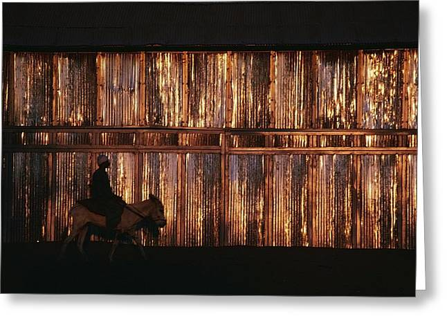 Evening Dress Greeting Cards - Man Riding A Donkey In Front Of A Greeting Card by Axiom Photographic