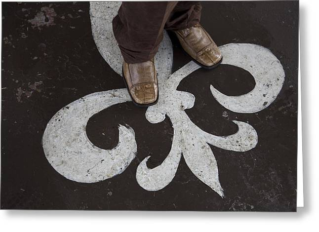 Men Shoes Greeting Cards - Man Standing On A Fleur De Lis Greeting Card by Tyrone Turner