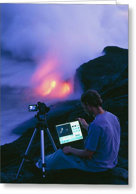 Taking Photographs Greeting Cards - Man Taking Photographs Of A Lava Flow Greeting Card by G. Brad Lewis
