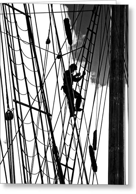 Square Rigger Greeting Cards - Man the Crows Nest Greeting Card by Randall  Cogle
