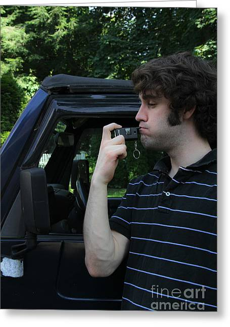 Safety Test Greeting Cards - Man Using A Breathalyzer Greeting Card by Photo Researchers, Inc.