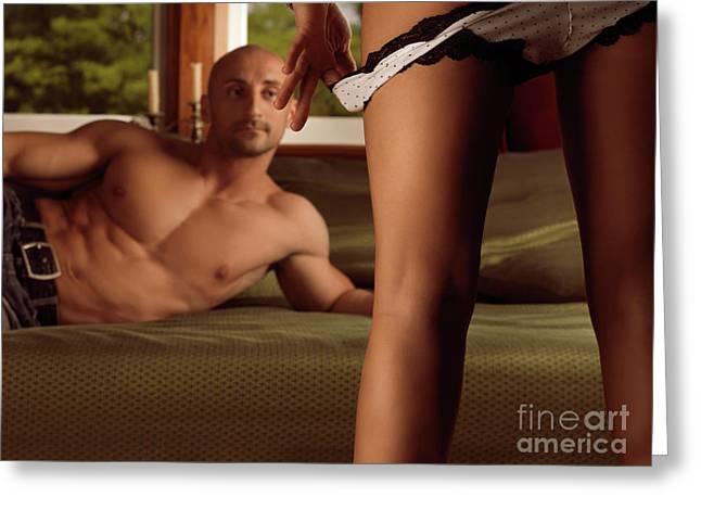 Heterosexual Couple Greeting Cards - Man Watching Woman Taking off Her Panties Greeting Card by Oleksiy Maksymenko