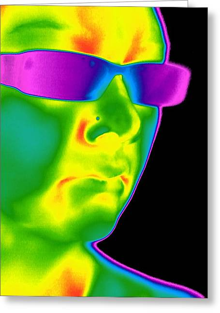 Thermography Greeting Cards - Man Wearing Sunglasses, Thermogram Greeting Card by Tony Mcconnell