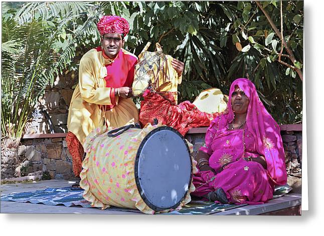 Woman Drumming Greeting Cards - Man Wife Musicians Puppeteers Greeting Card by Kantilal Patel