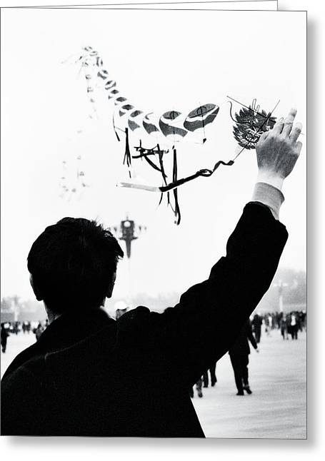 Kites Greeting Cards - Man with a Kite Greeting Card by Linde Townsend