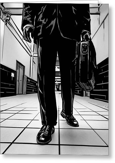 Man Greeting Cards - Man With Briefcase Greeting Card by Giuseppe Cristiano