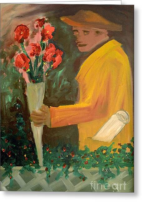 Oil On Cardboard Greeting Cards - Man with flowers  Greeting Card by Bruce Stanfield