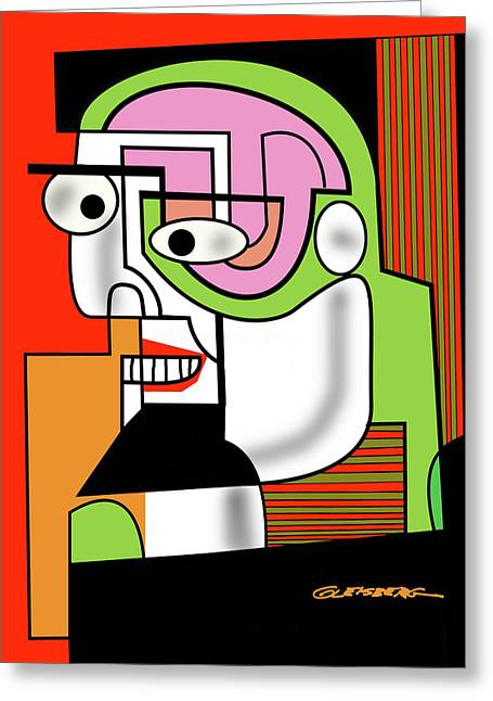 Esque Greeting Cards - Man with Goatee Greeting Card by Dean Gleisberg