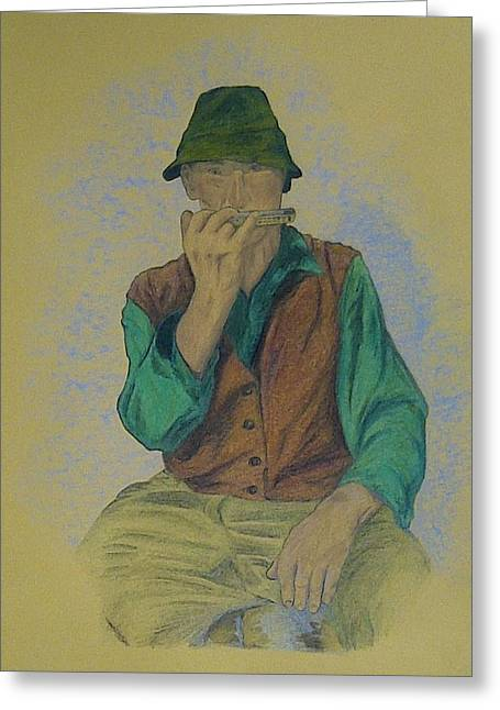 People Pastels Greeting Cards - Man with harmonica Greeting Card by Kat At illustraat