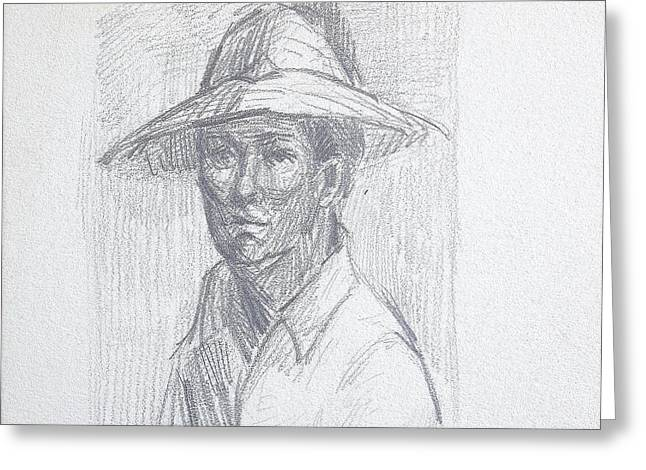 Caucasion Greeting Cards - Man with Hat Greeting Card by Bill Joseph  Markowski