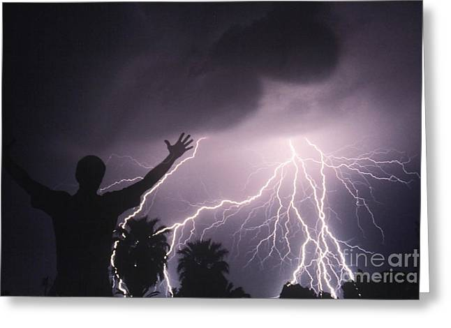 Cloud To Ground Greeting Cards - Man With Lightning Greeting Card by Kent Wood and Photo Researchers