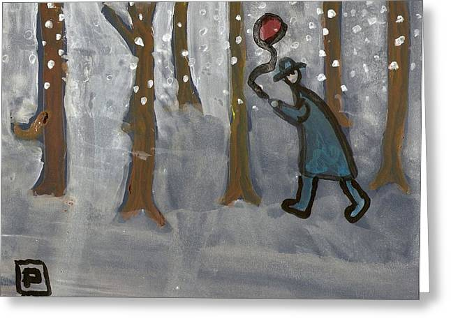 Man With Red Balloon Greeting Card by Peter  McPartlin