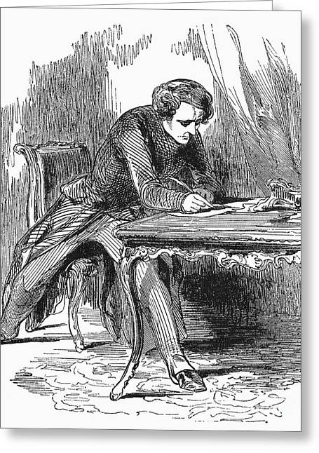 1850s Greeting Cards - MAN WRITING, c1850s Greeting Card by Granger