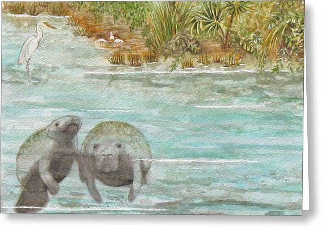 Manatee Greeting Card by Grace Ashcraft