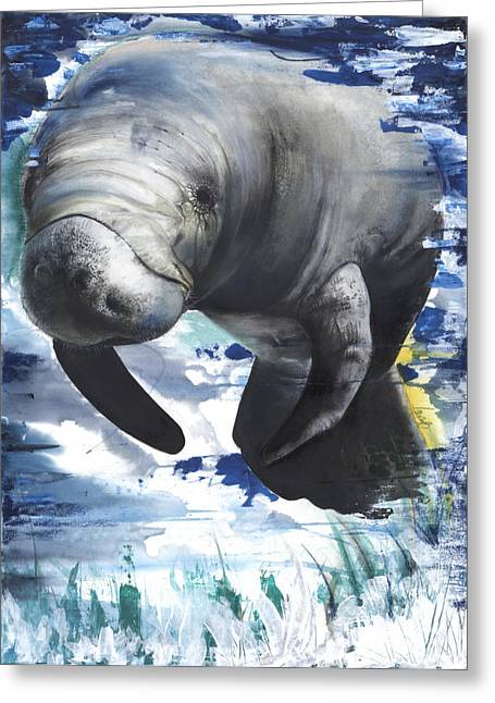 Tree Roots Mixed Media Greeting Cards - Manatees Greeting Card by Anthony Burks Sr