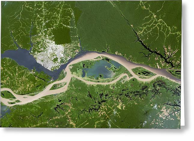 Negroes Photographs Greeting Cards - Manaus, Satellite Image Greeting Card by Planetobserver