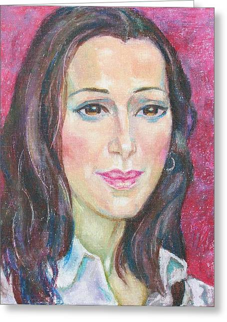 Pastel Greeting Card featuring the painting Manca Izmajlova by Leonid Petrushin