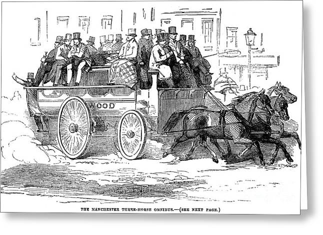 Omnibus Greeting Cards - Manchester Omnibus, 1856 Greeting Card by Granger