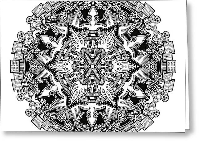 Mandala Drawing 34 Greeting Card by Jim Gogarty
