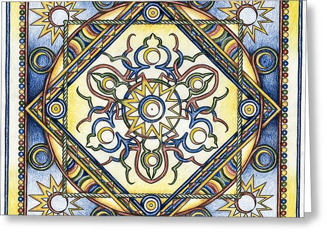 Organic Drawings Greeting Cards - Mandala of the Sun Greeting Card by Hakon Soreide