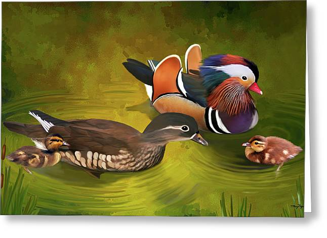 Ducklings Greeting Cards - Mandarin Duck family Greeting Card by Thanh Thuy Nguyen