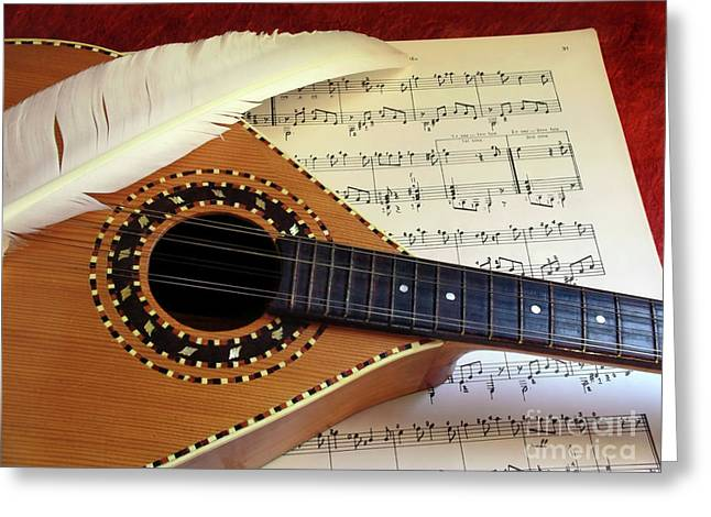 Guitar Strings Greeting Cards - Mandolin and Partiture Greeting Card by Carlos Caetano