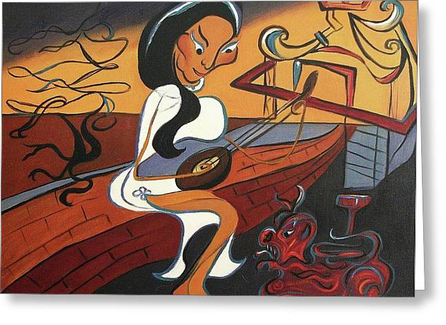 Suzanne Molleur Paintings Greeting Cards - Mandolin Lady Greeting Card by Suzanne  Marie Leclair