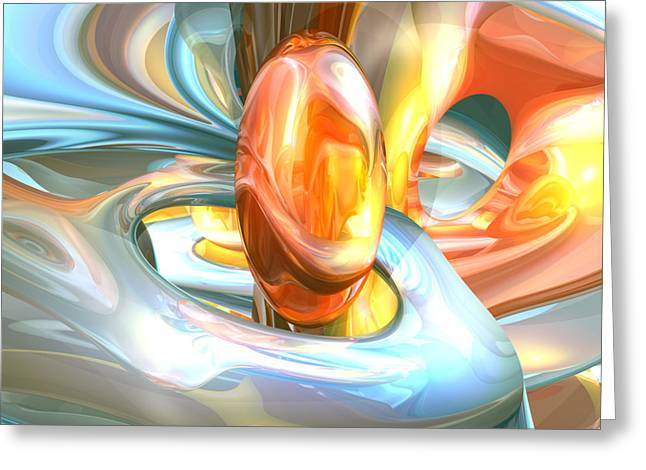 Mango Greeting Cards - Mango and Cream Abstract Greeting Card by Alexander Butler