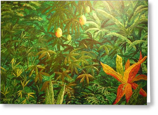 Mango Paintings Greeting Cards - Mango Hill Greeting Card by Patti  Bean
