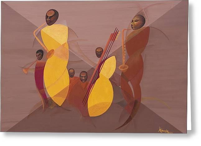 African American Artist Greeting Cards - Mango Jazz Greeting Card by Kaaria Mucherera