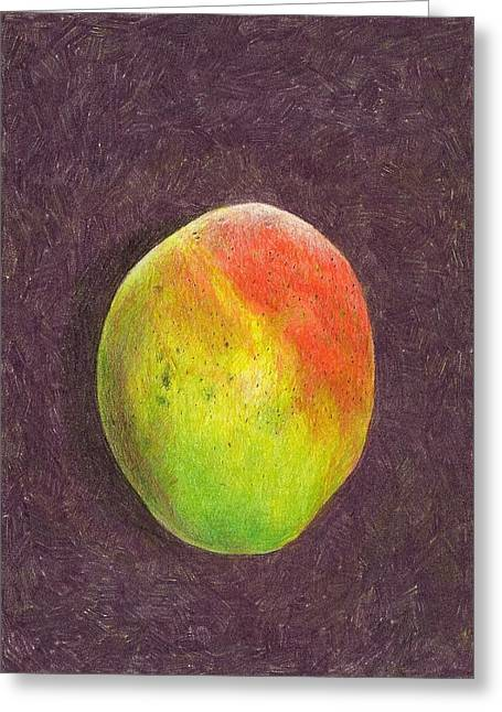 Steve Asbell Greeting Cards - Mango on Plum Greeting Card by Steve Asbell