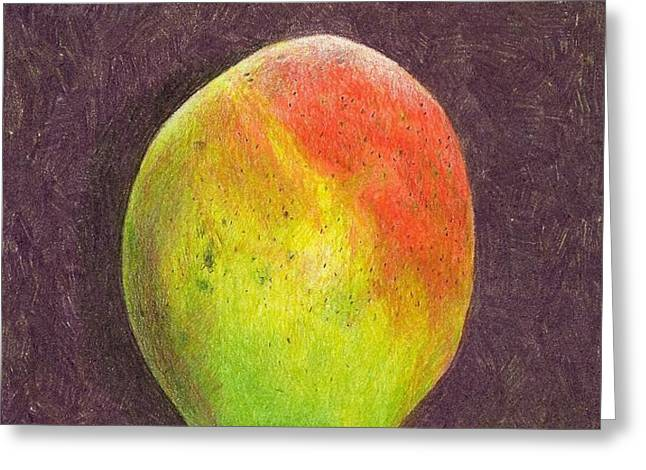 Mango on Plum Greeting Card by Steve Asbell